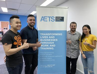 AETS Fairfield Admin Officers Anthony and Guillermo, Trainer Bojan and and National PaTH EST Administrator, Judy